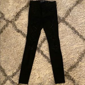 Hollister Mid Rise Super Skinny Distressed Jeans